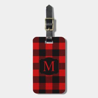 Red Buffalo Plaid with Custom Monogram Bag Tag