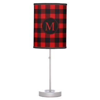 Red Buffalo Plaid with Custom Monogram Desk Lamp
