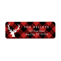 Red Buffalo Plaid with Deer Holiday Address Label