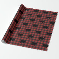 Red Buffalo Plaid With Pigs Wrapping Paper