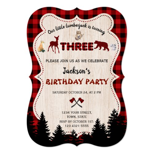 Red Buffalo Woodland Animals Boy 3rd Birthday Invitation