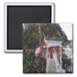 Red building by the sea refrigerator magnet