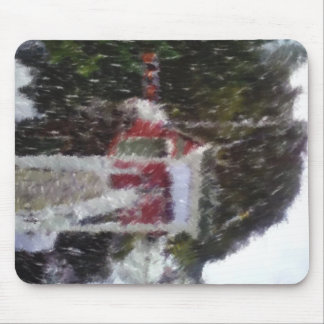 Red building by the sea mouse pad