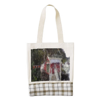 Red building by the sea zazzle HEART tote bag