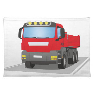 red building sites truck cloth placemat