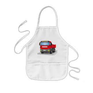 red building sites truck kids' apron