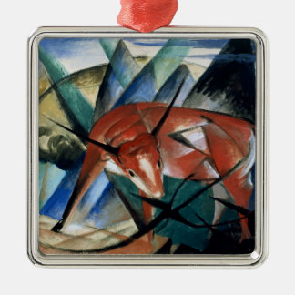 Red Bull (gouache on paper) Metal Ornament