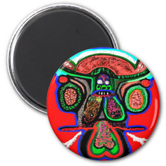 RED BULL on CLOUD NINE: TEMPLATE cartoon funny 2 Inch Round Magnet