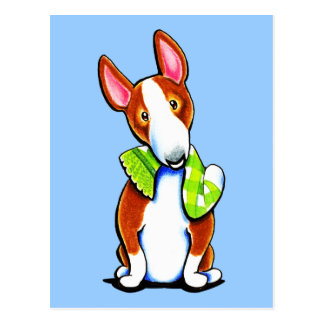 Red Bull Terrier Lets Play Postcard