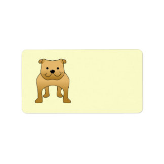 Red Bulldog. Dog Cartoon. Personalized Address Labels