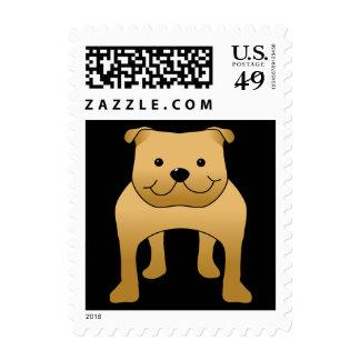Red Bulldog. Dog Cartoon. Postage Stamp