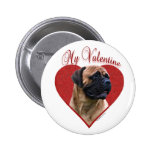 Red Bullmastiff My Valentine - Button