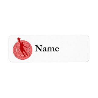 Red bullseye basketball label