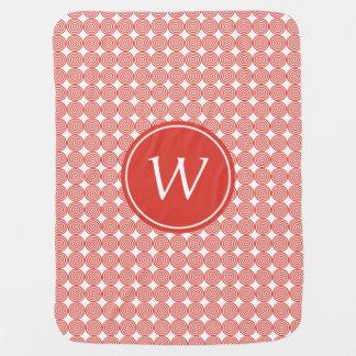 Red Bullseye Monogram Swaddle Blanket
