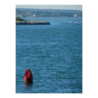 Red Buoy on the Ocean Poster