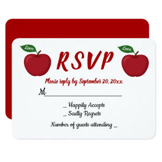 Red Burgundy Apple RSVP Wedding Party Fall Country Card