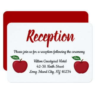 Red Burgundy Apple Wedding Reception Fall Country Card