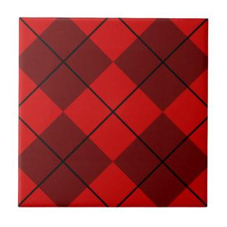 Red & Burgundy Argyle Ceramic Tile