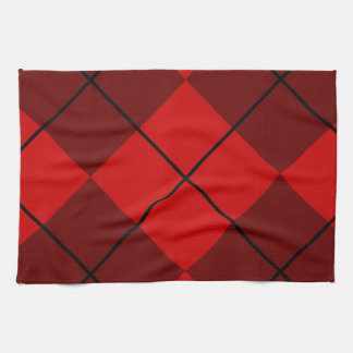 Red & Burgundy Argyle Hand Towels