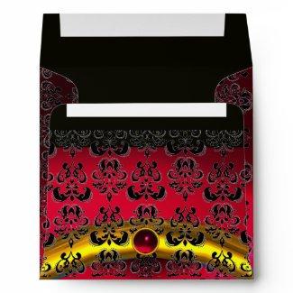 RED BURGUNDY BLACK DAMASK Ruby Gold envelope