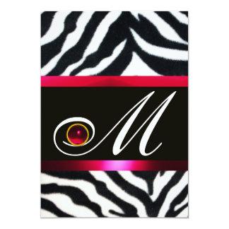 RED BURGUNDY  BLACK WHITE ZEBRA FUR MONOGRAM CARD