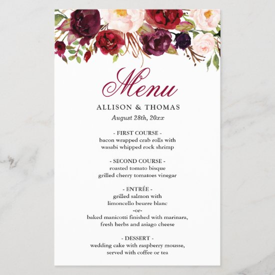 Red Burgundy Blush Floral Chic Wedding Dinner Menu