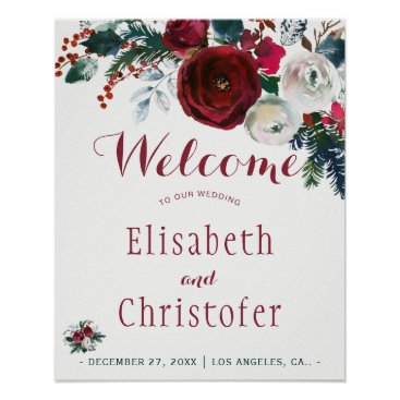 Beach Themed Red burgundy bouquet winter wedding welcome sign