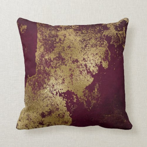 Red Burgundy Distressed Grungy Gold Vip Throw Pillow