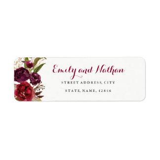 Red Burgundy Floral Fall Return Address Label