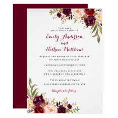 Red Burgundy Floral Fall Wedding Invitation at Zazzle