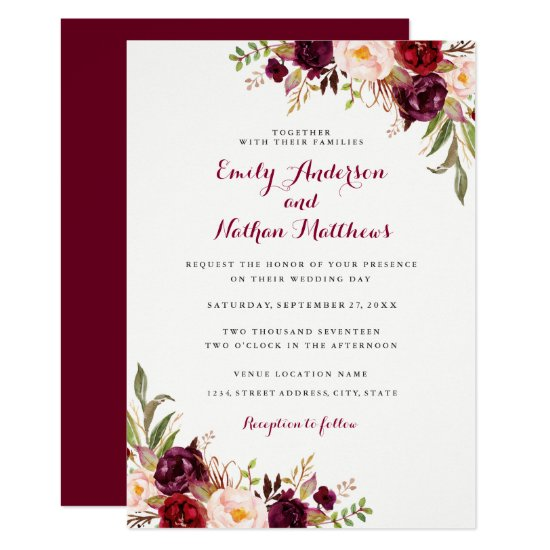 Red Burgundy Floral Fall Wedding Invitation