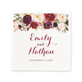 Red Burgundy Floral Fall Wedding Napkin