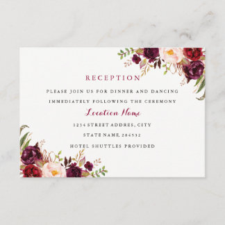 Red Burgundy Floral Fall Wedding Reception Card