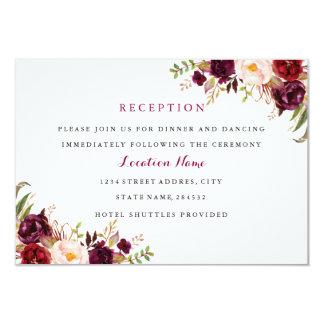 Red Burgundy Floral Fall Wedding Reception Card