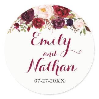 Red Burgundy Floral Fall Wedding Sticker