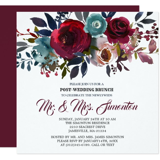 Red Burgundy Floral Post-Wedding Brunch Invitation