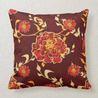 Burgundy Print Throw Pillows : Maroon And Yellow Pillows - Decorative & Throw Pillows Zazzle