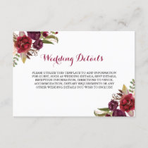 Red Burgundy Floral Wedding Reception Details Enclosure Card