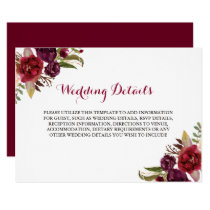 Red Burgundy Floral Wedding Reception Details Invitation