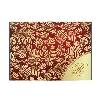 Red Burgundy Gold Monogram Folio Case For iPad Mini