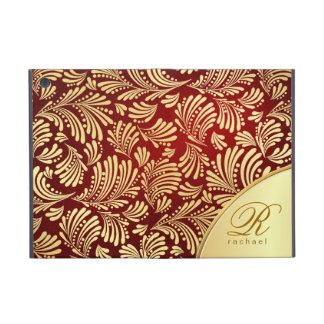 Red Burgundy Gold Monogram Folio iPad Mini Covers