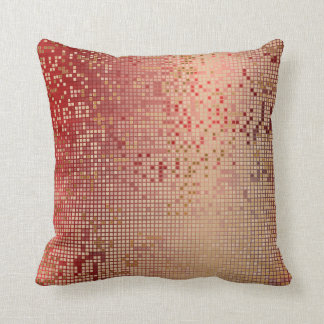Red Burgundy Gold Vip Shiny Cyber Numeric IT Throw Pillow