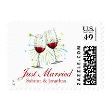 Red Burgundy Just Married Wine Glasses Wedding Postage