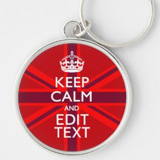 Red Burgundy Keep Calm Your Text Union Jack Flag Keychain