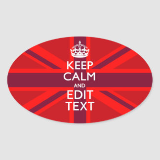 Red Burgundy Keep Calm Your Text Union Jack Flag Oval Sticker