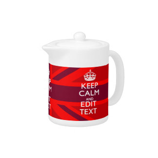 Red Burgundy Keep Calm Your Text Union Jack Flag Teapot