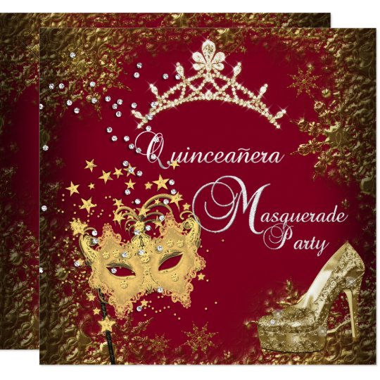 red  burgundy masquerade quinceanera 15th party invitation
