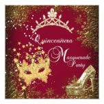 "red/burgundy Masquerade Quinceanera 15th Party 5.25"" Square Invitation Card"