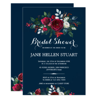 Red burgundy navy blue winter floral bridal shower invitation