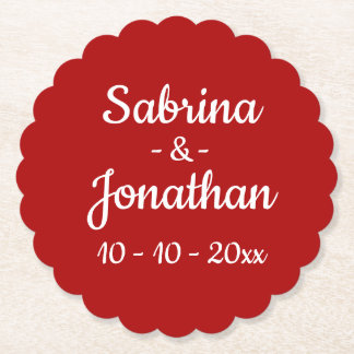 Red Burgundy Personalized Love Wedding Party Paper Coaster